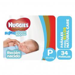 PAÑALES HUGGIES NATURAL CARE ELLOS PEQ X 34 UN.