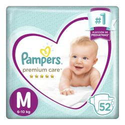 PAÑALES PAMPERS PREMIUM CARE MED X 52 UN.
