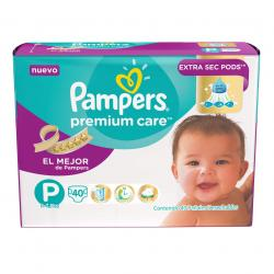 PAÑALES PAMPERS PREMIUM CARE PEQ X 40 UN.
