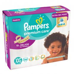 PAÑALES PAMPERS PREMIUM CARE XXG X 36 UN.